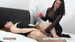Femdom Strapon Jane spanks slut pussy toys face fucks and missionary sex  big tits spanking strapon bdsm toying femdom masturbate amateur missionary domination hardcore milf brunette bondage straponjane face fuck adult toys hot wax