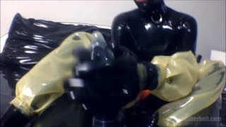 POV femdom footjob with latex socks  point of view catsuit femdom masturbate fetish handjob kinky footjob rubber latex mistress rubberdoll foot domination condom