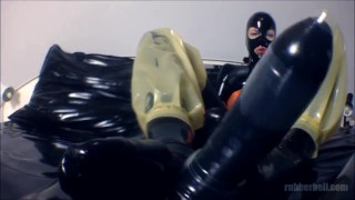 POV femdom footjob with latex socks  point of view catsuit femdom masturbate fetish handjob kinky footjob rubber condom latex mistress rubberdoll foot domination