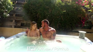 SpyFam Step brother and step sister Sydney Cole fucking in the jacuzzi  sydney cole babe outdoor spyfam hd blowjob public hardcore brunette 4k 60fps sex spy cream pie pussy licking natural tits