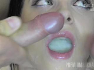 Premium Bukkake - Elya swallows 51 huge mouthful cum loads