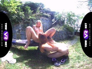 TmwVRnet.com - Katy Sky & Candy Red - Yoga lesbians orgasm outdoors