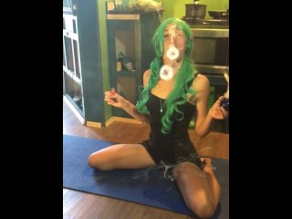 Teal Haired Goddess Blows Best Smoke Rings in the Universe