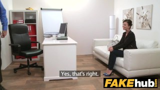 Preview 1 of Fake Agent - Model Vicky Love takes Cumload on her Great Tits