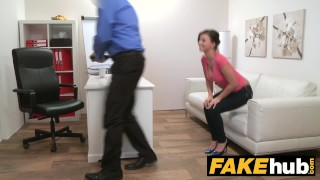 Preview 4 of Fake Agent - Model Vicky Love takes Cumload on her Great Tits