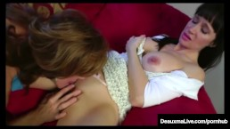 Angie Noir Makes Horny Cougar Deauxma squirt with A StrapOn!