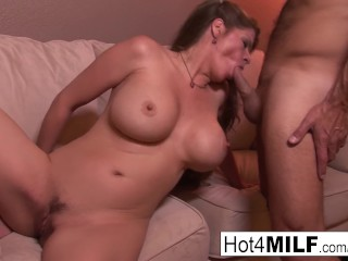 Brunette MILF receives a creampie