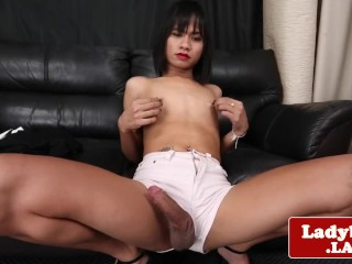 Asian tgirl spreads ass and wanks off solo