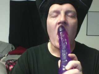 Maleficent cosplay xxx bj on purple cock deep throat training 10 inches