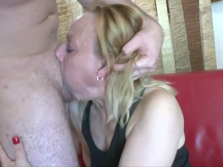 cougar blonde with huge tits gets anal and fucking throat