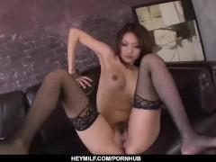 Riina Fujimoto stands naked and enjoys heavy dick
