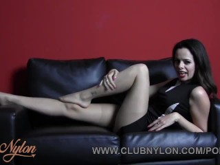 Brunette Tiff Naylor teases nylon pantyhose ready for your cum on legs feet