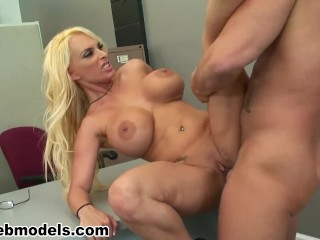 busty blonde secretary holly halston fucked by the boss for the facial reward!