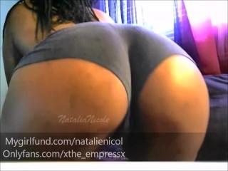 Ebony babe spreads ass on cam