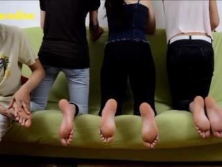 3 young women receive a good foot massage