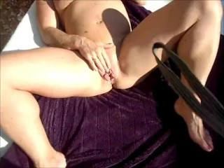 FBB gets pussy eaten and fucked outdoors and a cream pie.