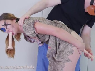Voodoo doll girl gets stabbed with cock and dildos