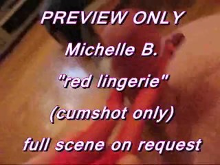 PREVIEW ONLY: Michelle B. in red lingerie footjob (cumshot only)