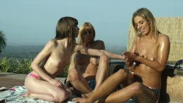 3WAY TANNING PARTY LESBIAN FUN