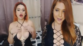 Two Hot Tranny Babe Masturbating Together