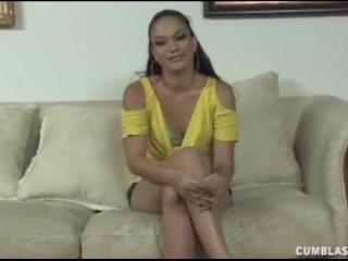 Cute brunette jerking a dick