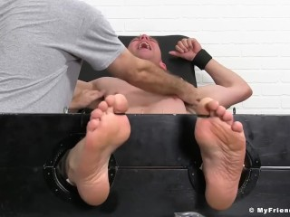 Fit guy Grayson gets his armpits and feet tickled by friends
