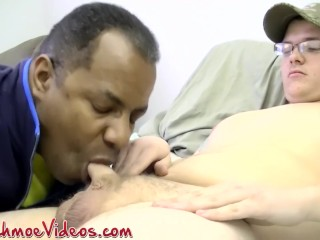 Old black dude Joe swallows Derbys hairy uncut prick