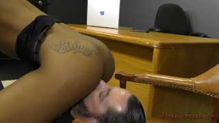 Ebony Secretary Sarah Banks Makes Her White Boss Lick Her Asshole - Femdom  ass worship black domme facesitting femdom black meanbitches kink butt foot worship female domination ass licking office secretary ebony dominatrix lick her asshole