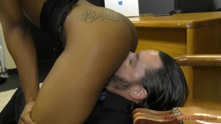 Ebony Secretary Sarah Banks Makes Her White Boss Lick Her Asshole - Femdom  ass worship lick her asshole black domme facesitting femdom black meanbitches kink secretary butt foot worship female domination ass licking office ebony dominatrix