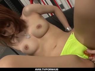 Rui Shiina sucks it hard before enjoying hard sex