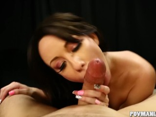 Cock Lover Jennifer White sucks a dick POV and Swallows
