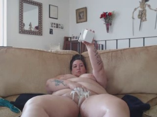 bbw shaving pussy, giving her a bath of milk, and masturbating anal to orgasm