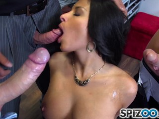 Anissa Kate suck some dick and play with them between her huge tits