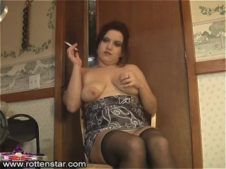 Smoking Thigh Highs Low Angle - ALHANA WINTER - RottenStar Vintage Clip