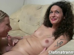 T-girl Nikki Montero and Euro TS RedVev Bareback hardcore sex