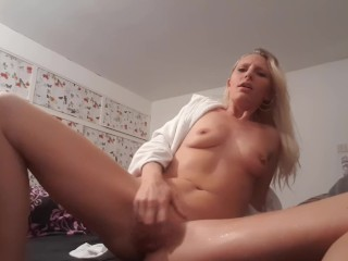 Perfect slutty blonde squirts in robe