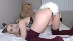 Stretching Pussy with HUGE Vibrating Dildo! Almost didn't fit! | LenaSpanks