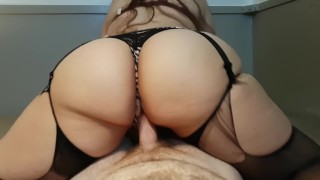 Preview 6 of THICK BOOTY AMATEUR BRUNETTE RIDES AND CUMS ON COCK TO EARN DEEP CREAMPIE