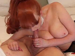 Slutty MILF Red sucks dick and jerks him off