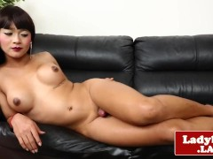Cute bigtitted ladyboy spreads her tight butt