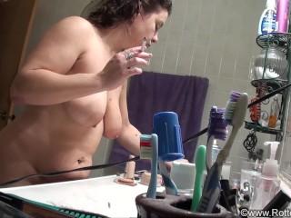Smoking Mom Caught on Step-Sons Spy Camera - ALHANA WINTER - Taboo Family