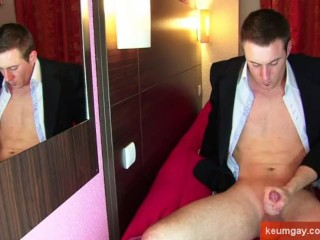 Marc's big cock of a real straight guy gets wanked by us!