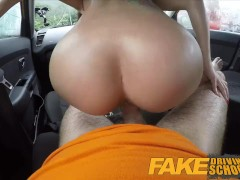 Fake Driving School - Black haired Euro babe with Glasses Fucked in a Car
