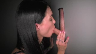First Time at Gloryhole  adult theater cum swallow big cock bbc strangers outside gloryhole fucking public blowjobs cum slut interracial slut training deepthroat tattoos cum in mouth