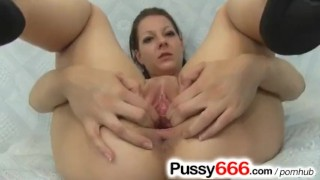Amateur brunette Tarya and her twat in details
