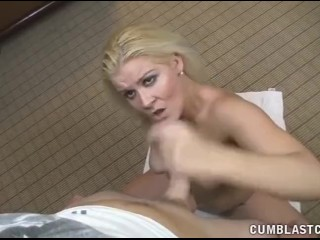 Big cumshot for the horny blonde