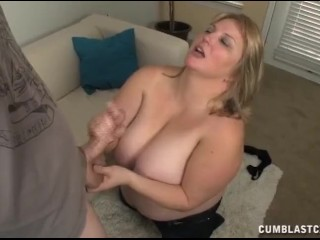 Busty blonde gets splattered with cum