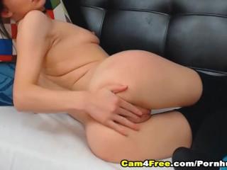 Pretty Brunette Babe Finger Fucks Her Pussy