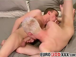 Leo sucks his own cock while Jamie is fucking him hard