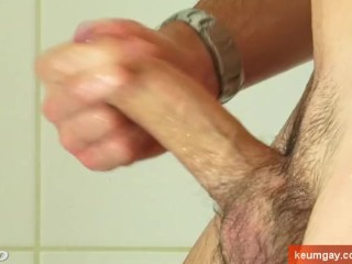 Beny, handsome straight guy with monster cock hard on a shower !